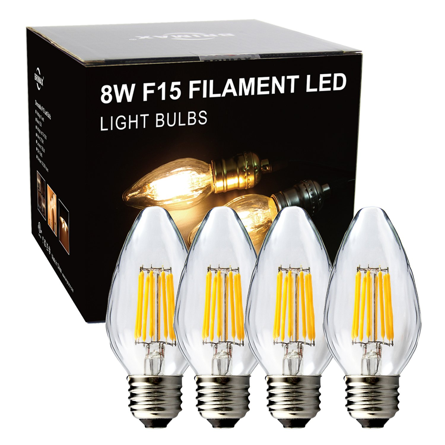 BRIMAX F15 8W Filament Led Porch Post Light Bulb Outdoor, 75W - 80W Incandescent Equivalent, E26 Medium Base Dimmable 2700K Warm White Flame Wrinkle Glass, for Ceiling Fan and Lantern Lamp, 4pack