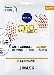 NIVEA Q10 Plus C Anti-Wrinkle Face Sheet Mask, Vitamin C, 1 Mask