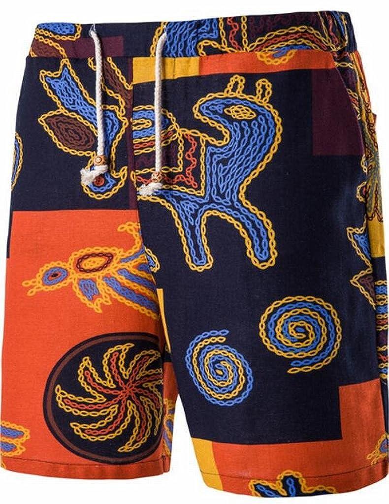 55e21a17848a ARTFFEL-Men Summer African Print Linen Short Sleeve Shirt Shorts Beach 2  Pcs Outfits at Amazon Men s Clothing store