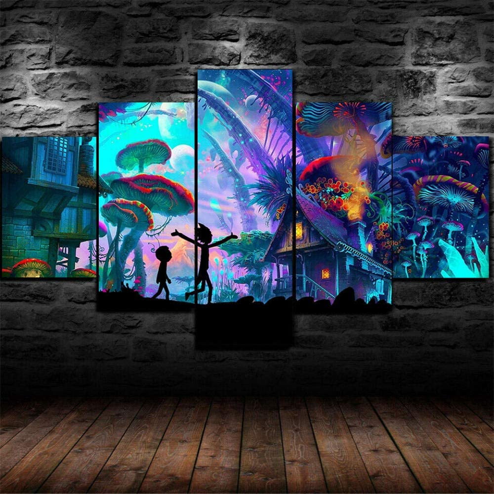 Sincin Canvas Wall Art Picture Prints on Canvas Poster Framed Rick Morty Mushroom Trippy Poster 5 Pcs Canvas Print Wall Art Decor with Frame-can be Hung Xmas gifts-200x100 cm