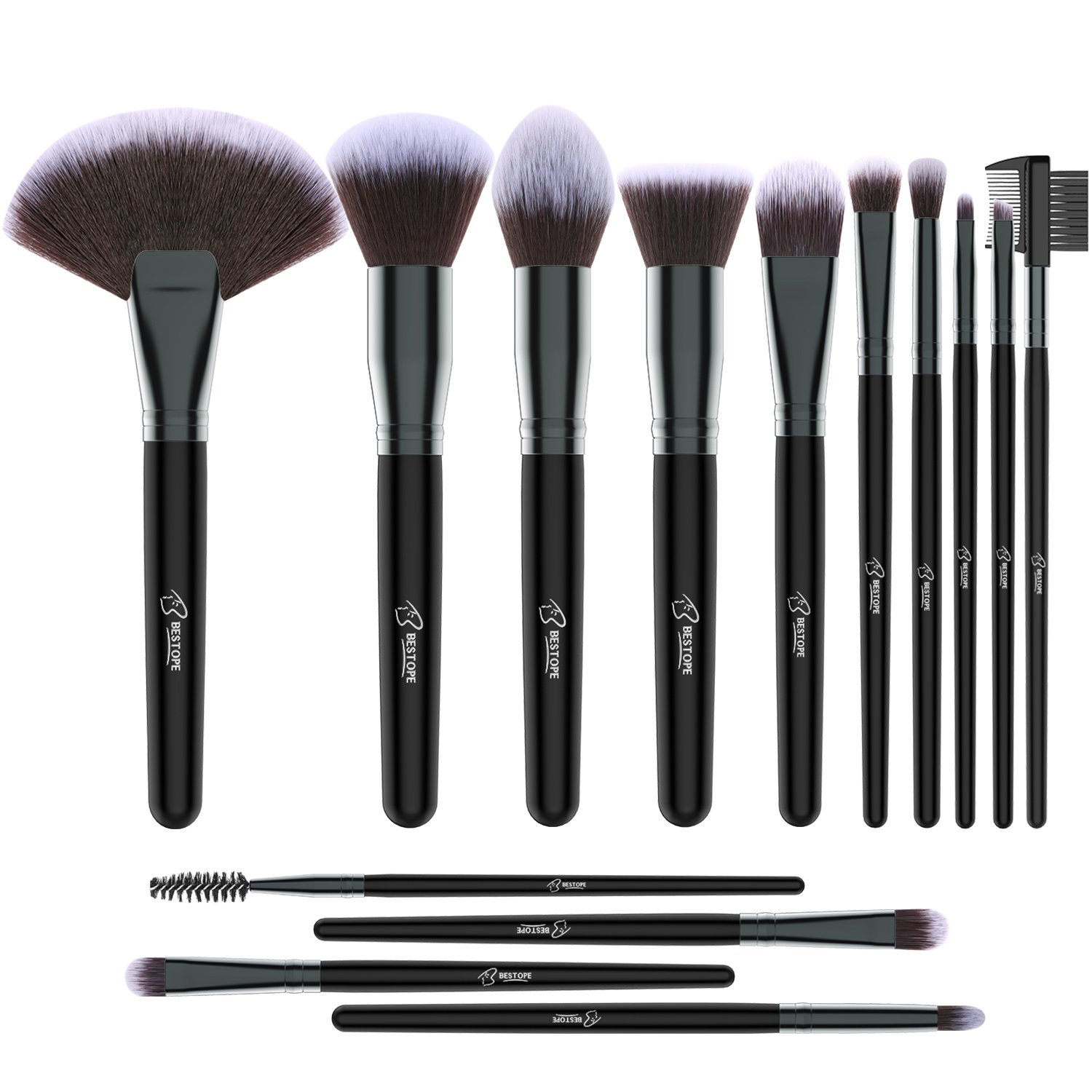 BESTOPE Premium Makeup Brushes Set, 14 Pieces Pro Synthetic Makeup Brushes Foundation Power Eyeshadow Eyeliner Blending Lip Concealer Face Brush Blush Brush, Beauty Cosmetic Tools Ltd.
