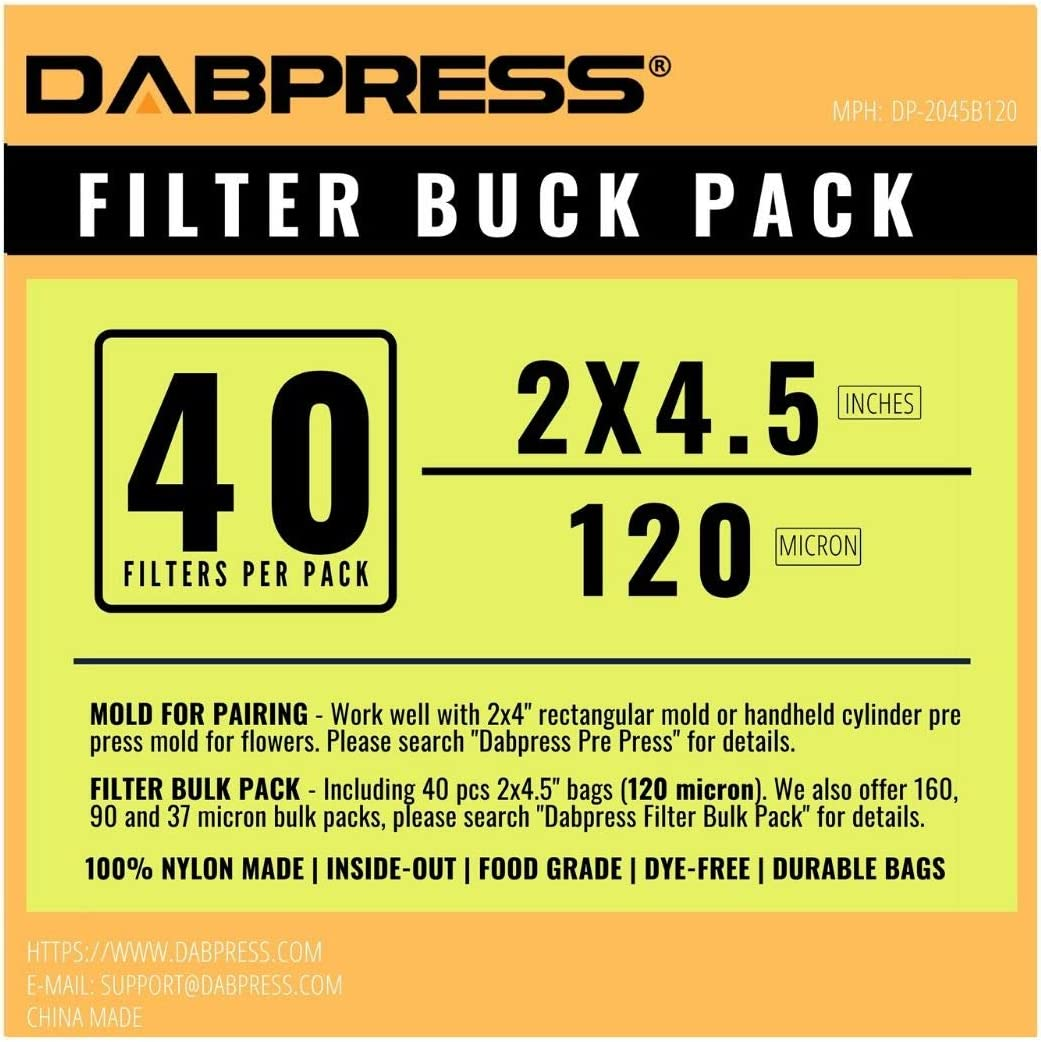 Mold Combo 3 37, 90, 120 and 160 Micron Press Bags, 5 Pieces Each, 20pc in Total Including 1pc Stainless Steel Cylinder PrePress Mold and 1pc Filter Variety Pack Filter Bags