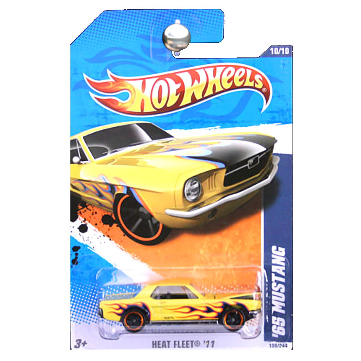 Amazon com hot wheels 2011 heat fleet 1965 ford mustang yellow with flames opening hood toys games
