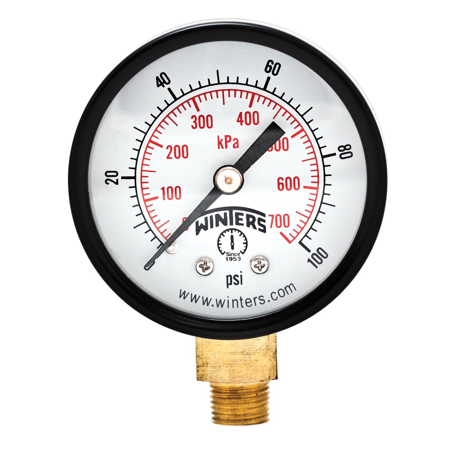 "Winters PEM Series Steel Dual Scale Economical All Purpose Pressure Gauge with Brass Internals, 0-100 psi/kpa, 2"" Dial Display, +/-3-2-3% Accuracy, 1/8"" NPT Bottom Mount"