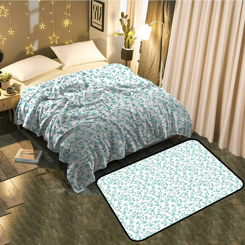 color03 Blanket 60 x63  Mat 24 x40  Bedside Blanket Doormat suitPattern with Leaves Springtime Greenery Bush Ecology Garden Growth Cozy and Durable Blanket 60 x78  Mat 5'X8'