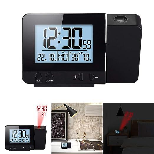 HITECHLIFE Pantalla LED Proyector Reloj con luz de Fondo Snooze ...