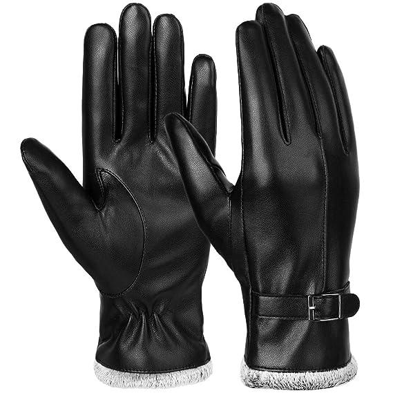 Vbiger Damen Lederhandschuhe Winter Handschuhe Touchscreen