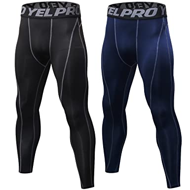 065840d7809b1 SILKWORLD Men's 2 Pack Compression Pants Baselayer Cool Dry Sports Tights  Leggings,Navy Blue,