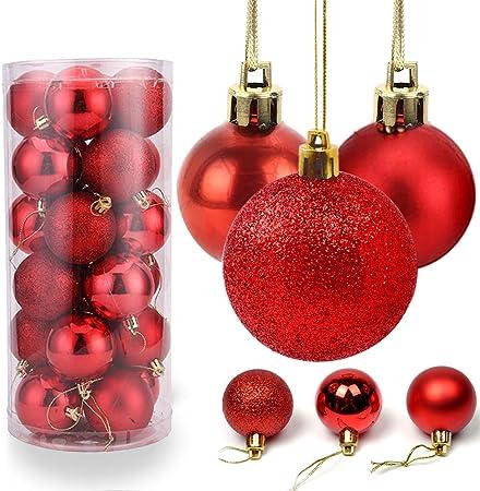O-Kinee Bolas de Navidad Rojo, 24PCS Bolas para Arbol de Navidad, Decoracion Arbol Navidad, Adornos Arbol Navidad, 4 cm: Amazon.es: Hogar