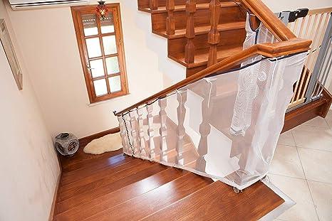 Miny Baby Protector de seguridad de malla Escalera Para balcones y barandas de escaleras 300 x 80 cm Blanco 1 pieza: Amazon.es: Bebé
