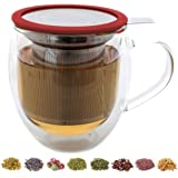 Teabloom - CLEARANCE - Large Double Wall Tea Cup with Infuser and Lid / Coaster (Red) - 430ml/15oz