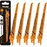 TOLESA Reciprocating Saw Blade for Wood Pruning Sawzall Saw CRV 6-Inch 6TPI - 5 Pack
