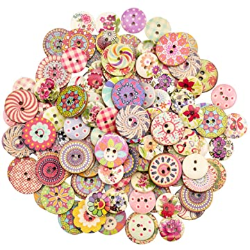 c5e2d8726fdaf Foraineam 400pcs Mixed Wooden Buttons Bulk 2 Holes Round Decorative Wood  Craft Button for Sewing Crafting