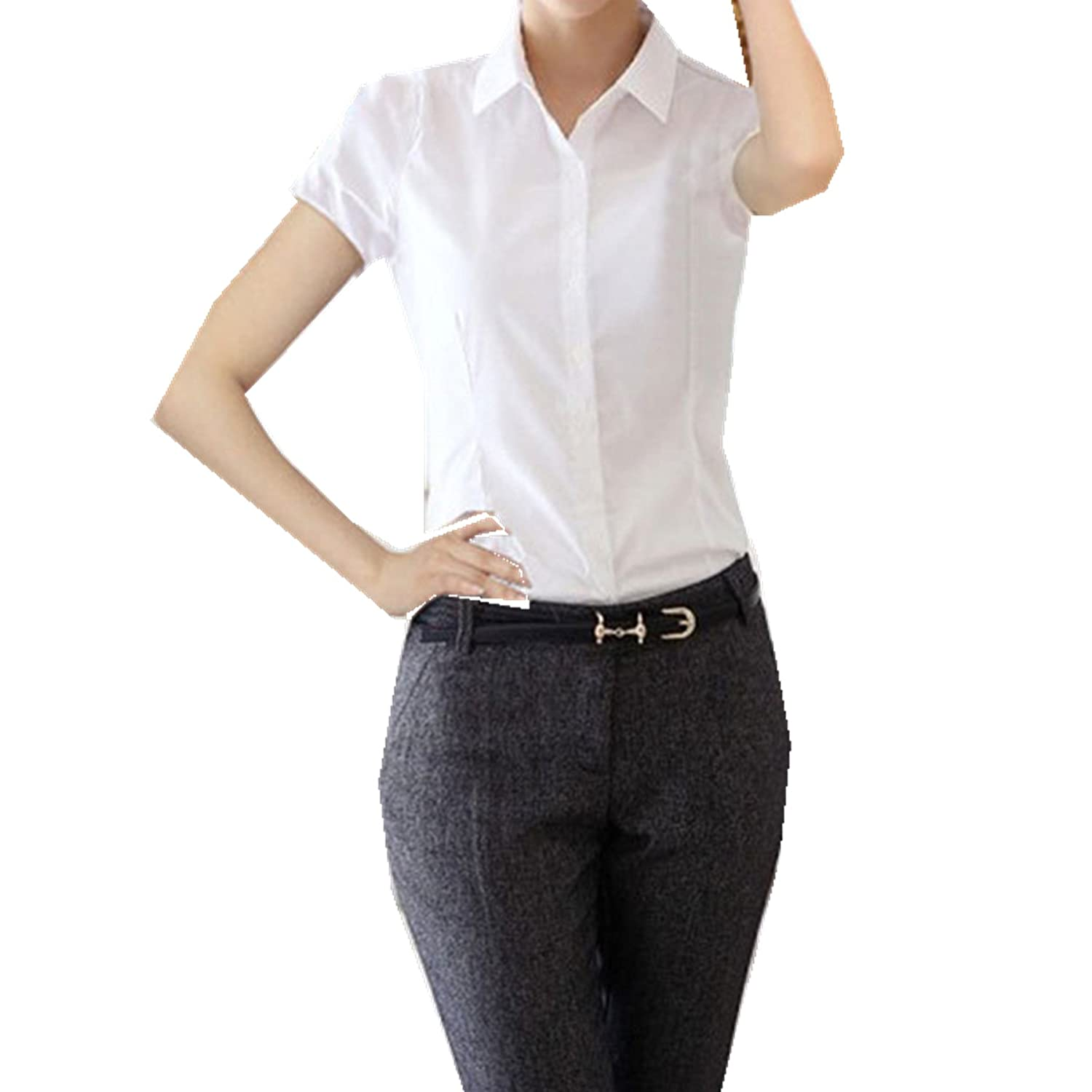 60ef3aceea52a Taiduosheng Women White Slim fit Button Down Shirt with bow tie Short  Sleeve OL Blouse at Amazon Women s Clothing store