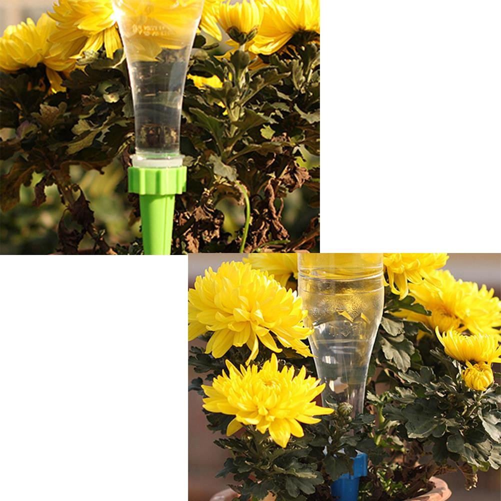 12 Pcs Plant Watering Spikes Automatic Watering Device Stake Vacation Houseplant Plant Pot Garden Waterer Cone Flower Water Drip Controller Bottle Irrigation Self Watering System,Random Color