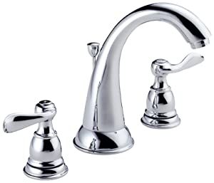 Delta Faucet Windemere 2-Handle Widespread Bathroom Faucet with Metal Drain Assembly, Chrome B3596LF