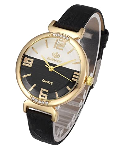 13da3aaaba02 Top Plaza Womens Girls Fashion Wrist Watch Gold Case Thin Leather Strap  Mixed Color Rhinestones Dial
