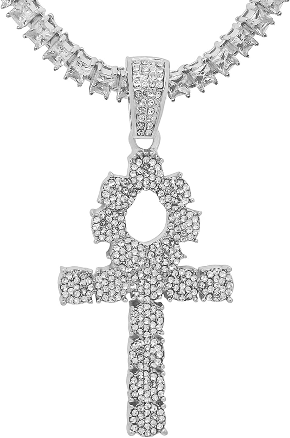 White Gold-Tone Iced Out Hip Hop Bling Symbol Of Life Ankh Cross Pendant 1 Row Square Cubic Zirconia Princess Cut Stones Tennis Chain 20 Necklace Choker Chain