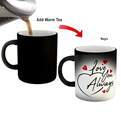 Buy Ikraft Valentine S Day Gift Love You Always Quotes Printed Magic Coffee Mug Black Online At Low Prices In India Amazon In