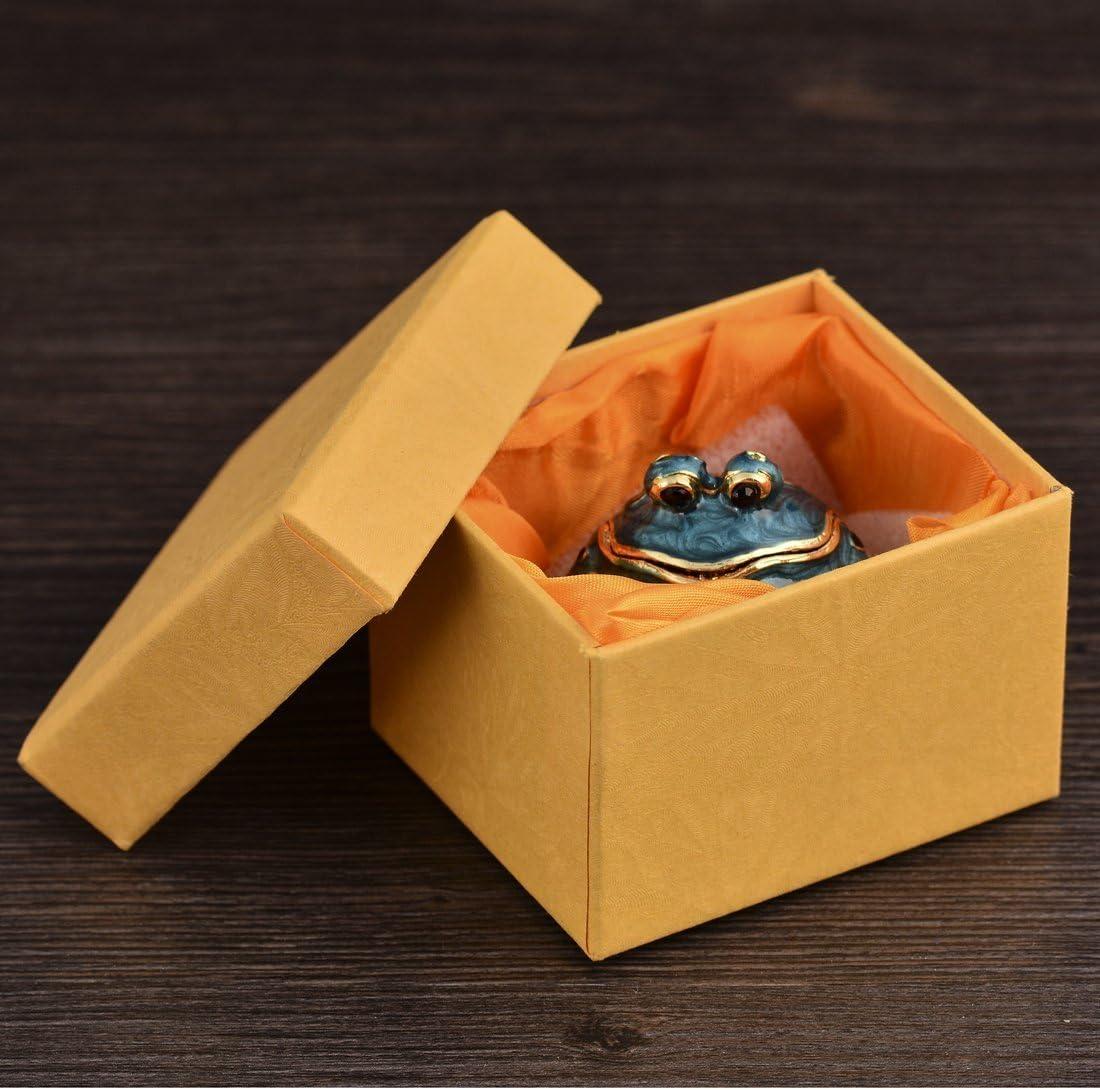 micg hecho a mano azul caja de grasa rana anillos de boda soporte Animal figura coleccionable mesa centro de mesa Navidad regalo para ni/ña