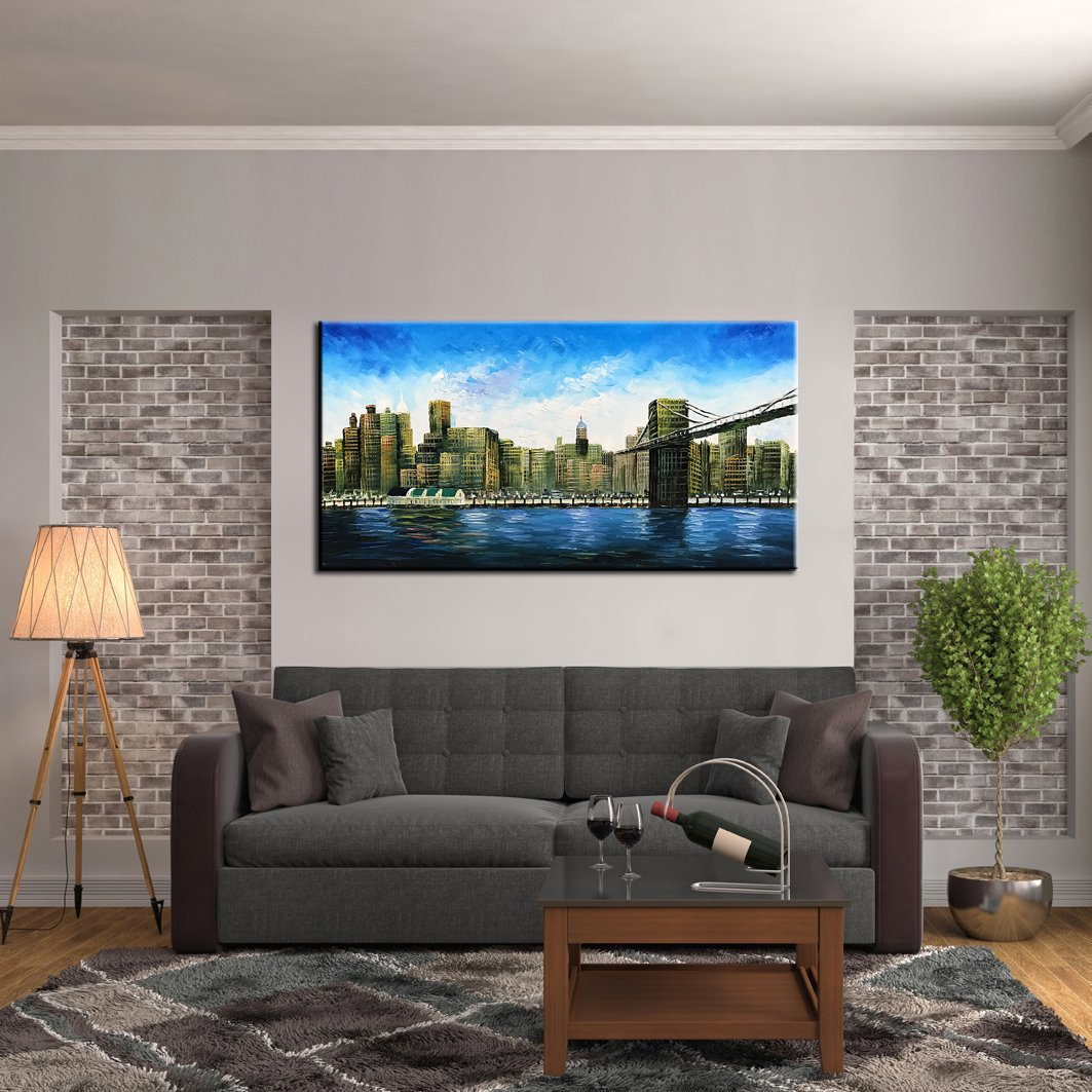 baccow 2448'' Modern Abstract Painting Wall Decor Landscape Paintings Oil Hand Painting 3D Wall Art On Canvas Abstract Artwork Art Wood Inside Framed Hanging Wall Decoration by baccow (Image #6)