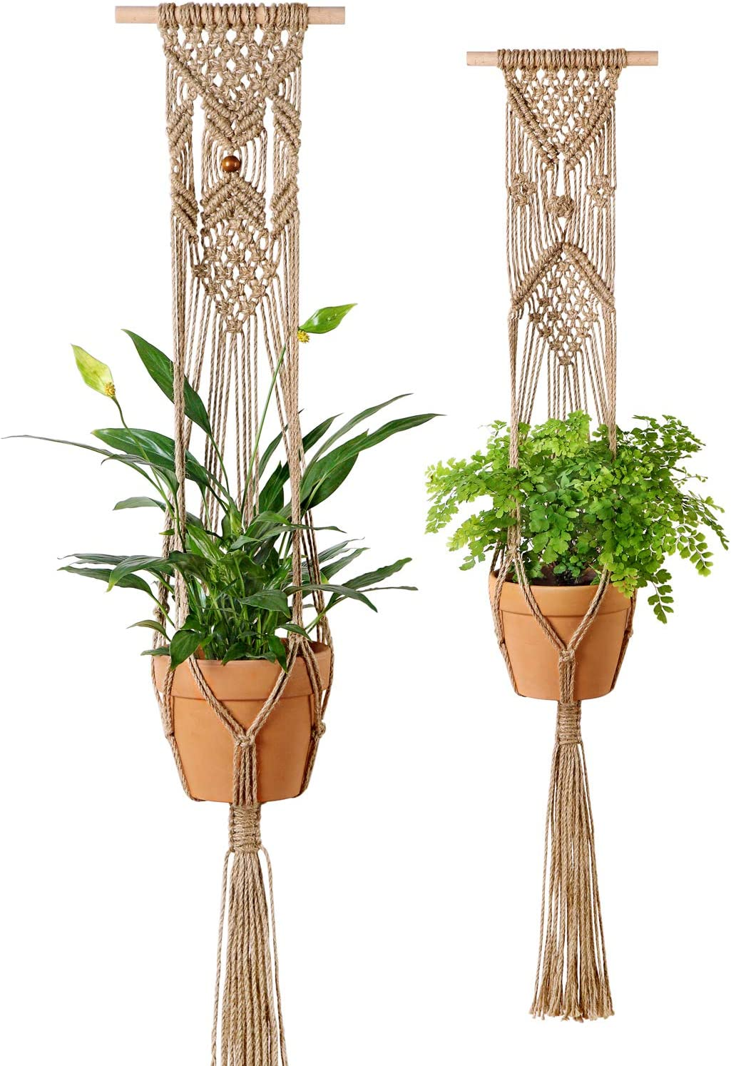 Mkono Plant Hangers Indoor Wall Hanging Planter Basket Macrame Jute Rope Boho Hippie Home Decor, Set of 2