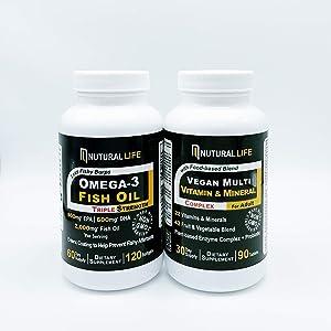 Nutural Life Omega-3 Fish Oil and Vegan Multivitamin & Multimineral Complex Bundle
