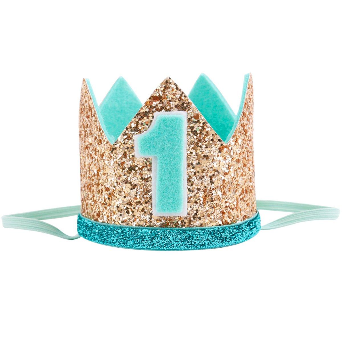 Celebris Glitter Baby Boy First Birthday Crown Hat Headband For Little Prince Princess Cake Smash