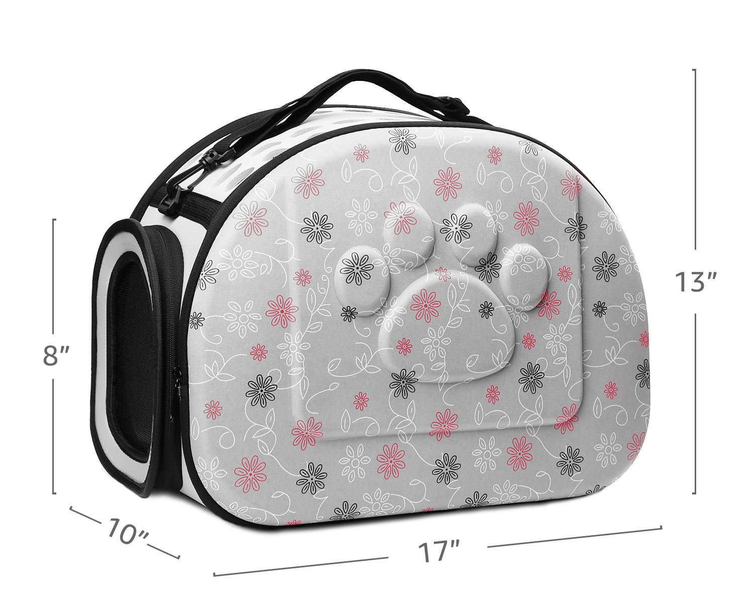 CORALTEA EVA Cute Portable Collapsible for Pets of Medium Size Cats & Dogs Airline Approved Outdoor Under Seat Travel Pet Carrier Soft Sided Puppy Bag (gray) by Coraltea (Image #4)