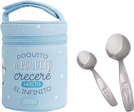 Pack de Termo Infantil en Acero Inoxidable con Aislamiento de Vacío para Líquidos y Sólidos Mr. Wonderful con Dos Cucharas Idurgo Baby, Capacidad 0.5 L, Color (1L Azul): Amazon.es: Bebé