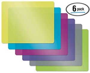 Flexible Plastic Cutting Board Mats, Set of 6, Textured, 6 Vivid, Translucent Colors by Better Kitchen Products