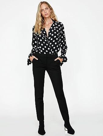 40038136e42c4 Koton Kadın Pantolonlar, Siyah, 38L Beden: Amazon.com.tr