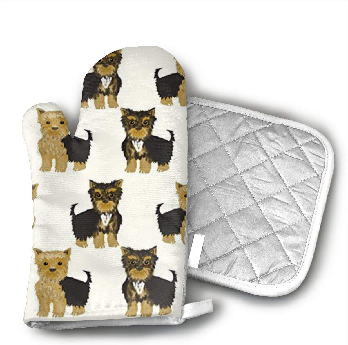 Sjiwqoj8 Yorkshire Terrier Cute Yorkie Dog Pet Kitchen Oven Mitts,Oven Mitts and Pot Holders,Heat Resistant with Quilted Cotton Lining,Cooking,Baking,Grilling,Barbecue