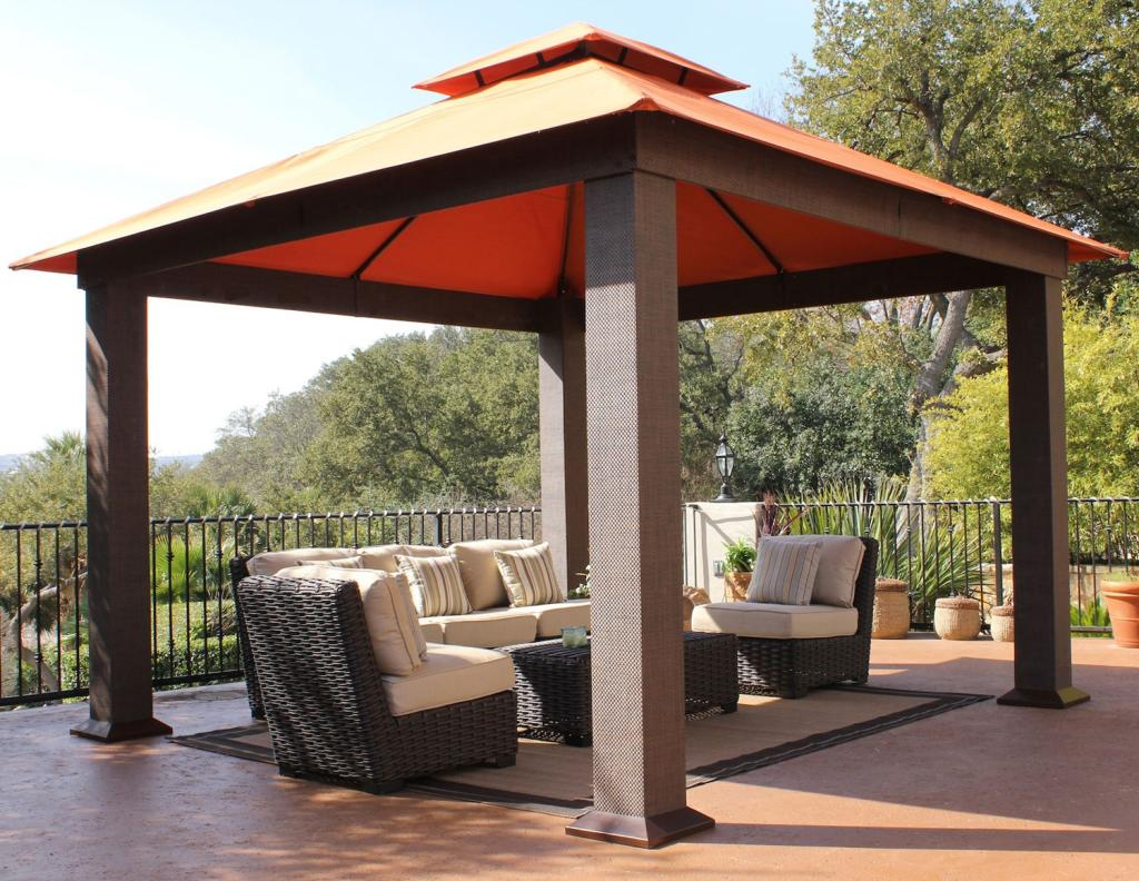 Stc seville gazebo 12 by 12 feet garden for Abri mural hardtop gazebo
