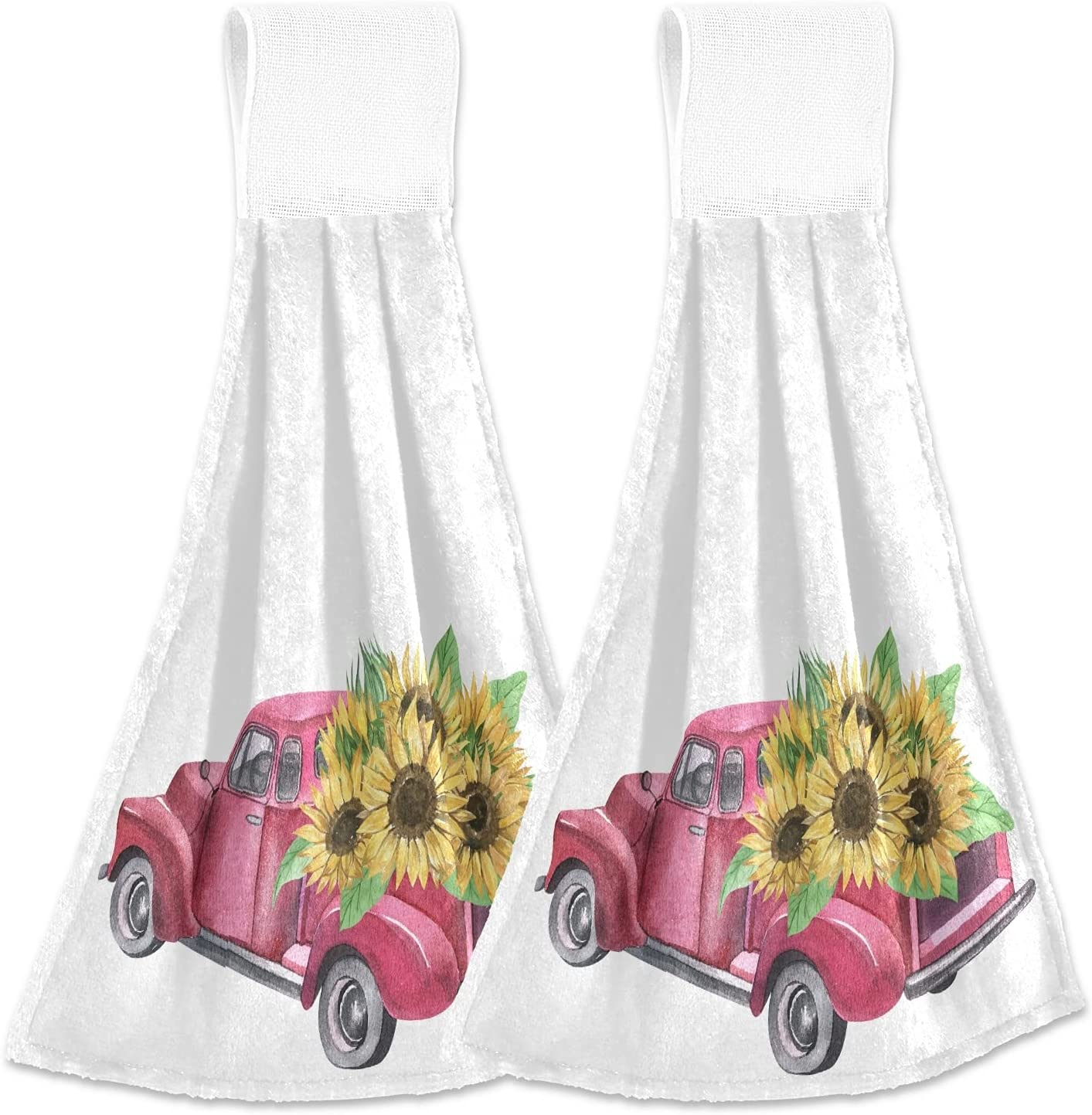 Vintage Red Truck Kitchen Hanging Hand Towels,Spring Sunflowers Absorbent Tie Towel with Loop 2 PCS Kitchen Linen Sets for Bathroom Restroom Home Decor