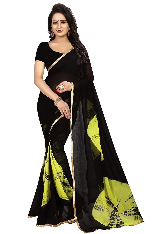 Shonaya Women Party Wear Black Colour Chiffon Lace Border Saree LEMON-LAHERIYA