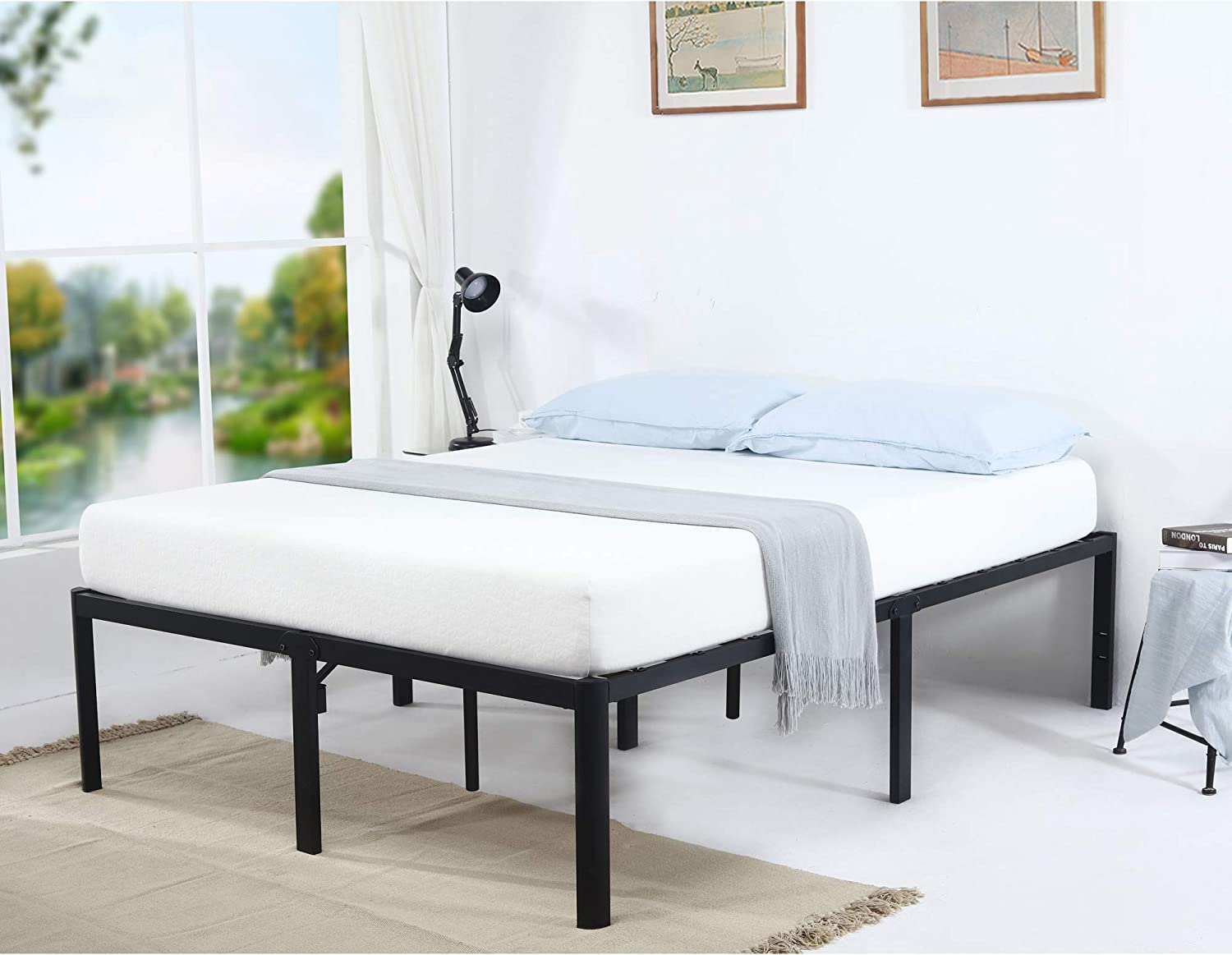V LX 18 Inch Tall V1406 UP-Support Deluxe Metal Slat Bed Frame Queen
