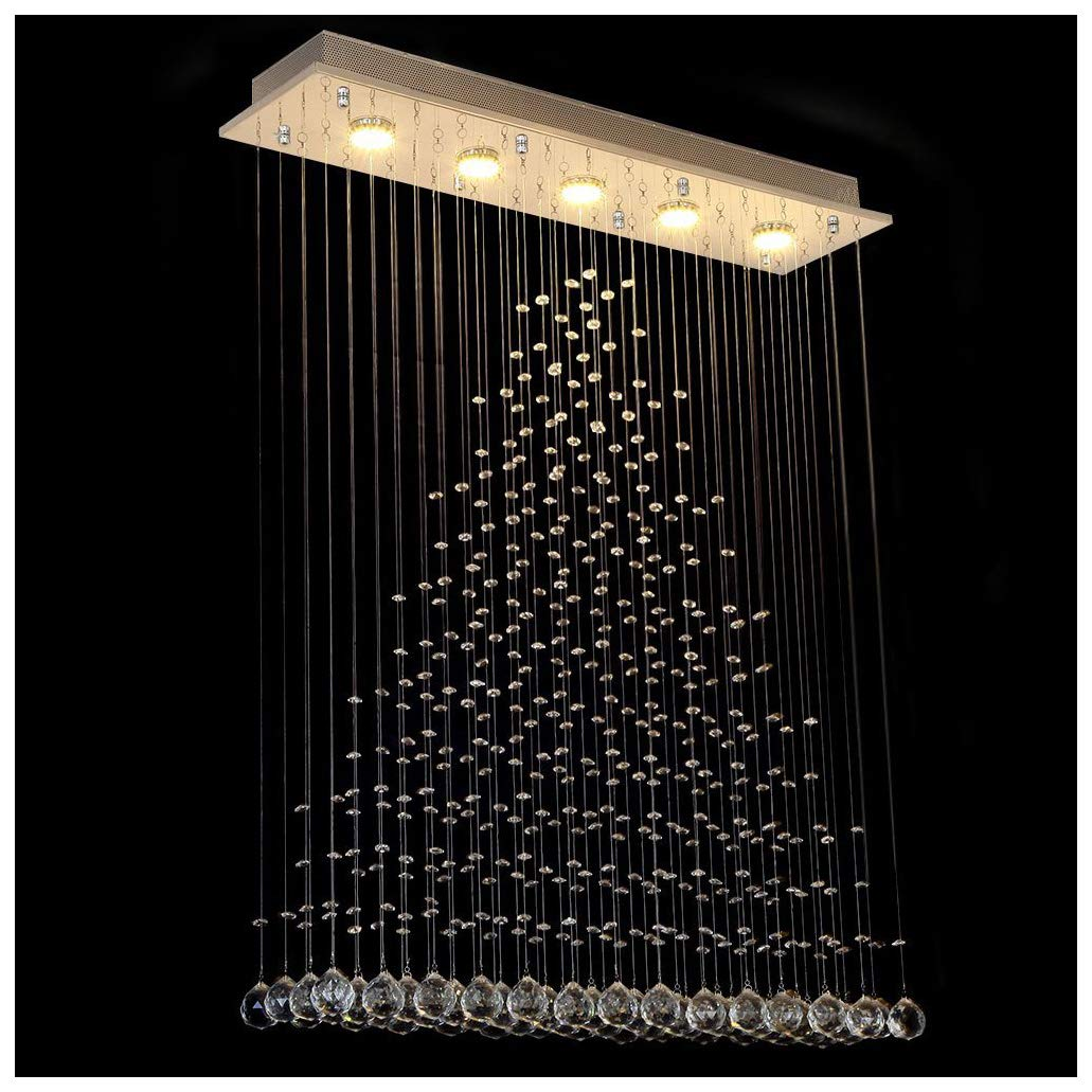 Dst contemporary crystal droplets chandelier ceiling lighting fixture flush mount led ceiling fixtures pendant lamp for living dining room foyer bedroom