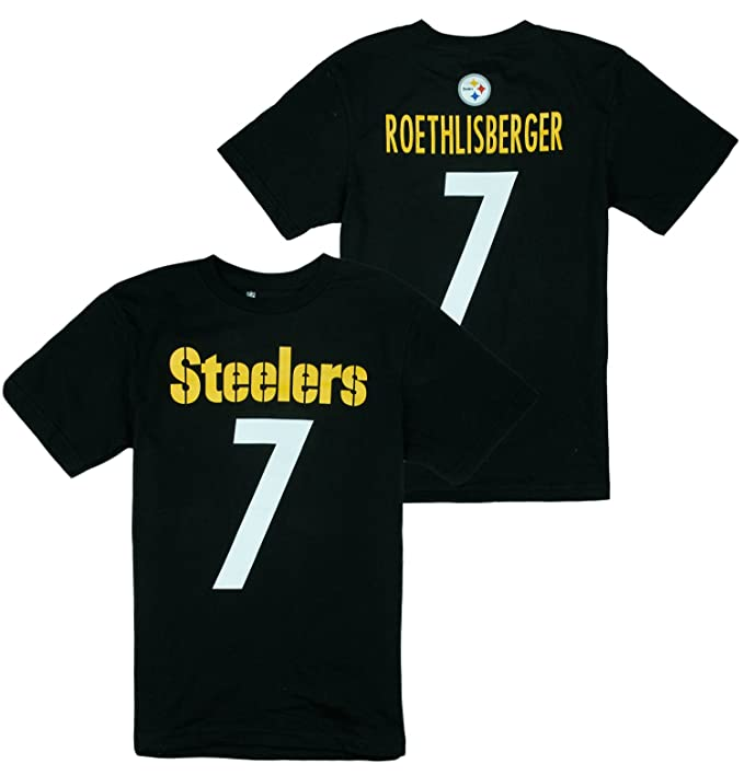 92698cd99 Amazon.com   Outerstuff Pittsburgh Steelers NFL Big Boys Ben Roethlisberger    7 Player Shirt - Black (2XL (18))   Sports   Outdoors