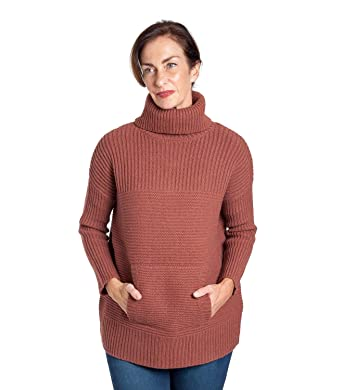 Woolovers Womens Lambswool Chunky Roll Neck Knitted Jumper Terracotta 2bde87a565f5
