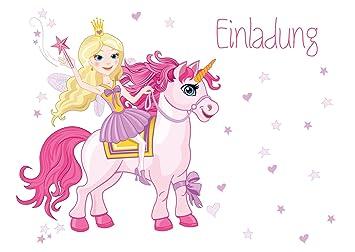 10 Einladungskarten Zum Kindergeburtstag   Motiv Prinzessin Auf Einhorn    Für Kinder, Mädchen, Geburtstagsfeier