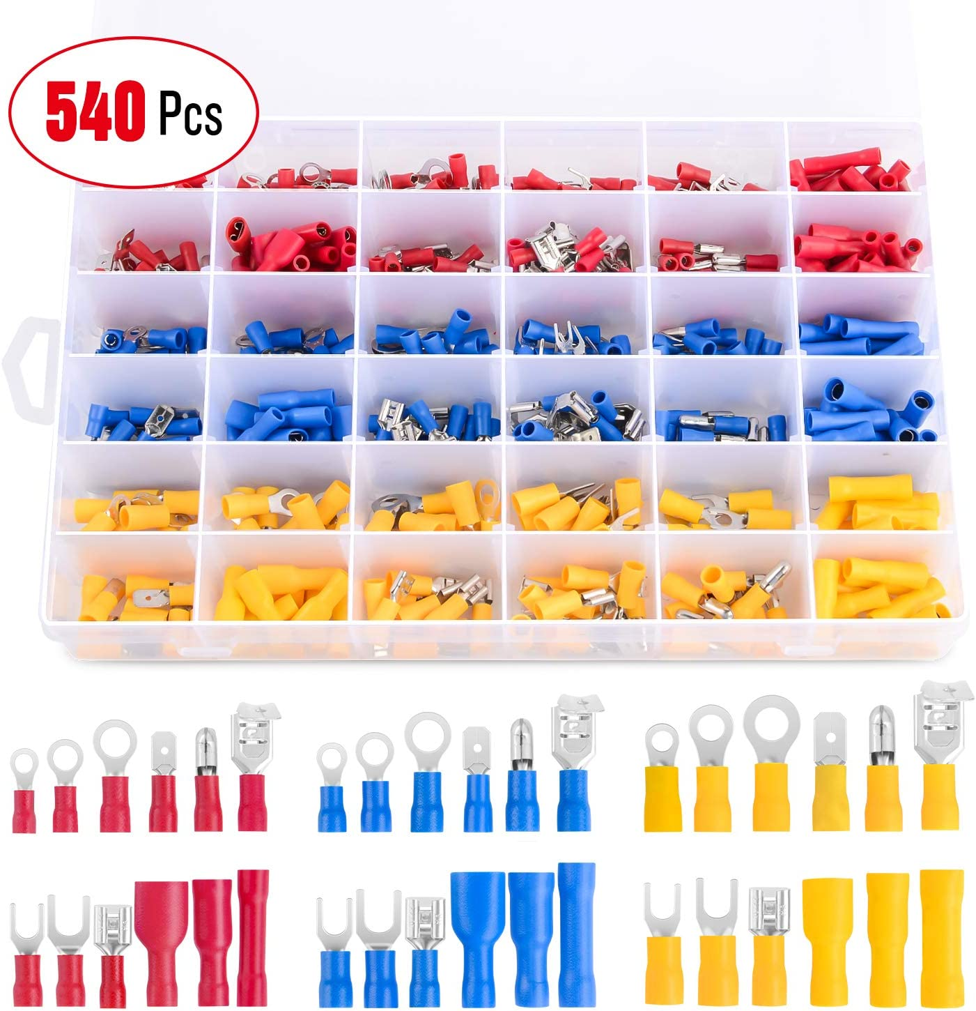 2 Years Warranty Nilight 540PCS Mixed Quick Disconnect Electrical Insulated Butt Bullet Spade Fork Ring Solderless Crimp Terminals 22-16//16-14//12-10 Gauge Electrical Wire Connectors Assortment Kit