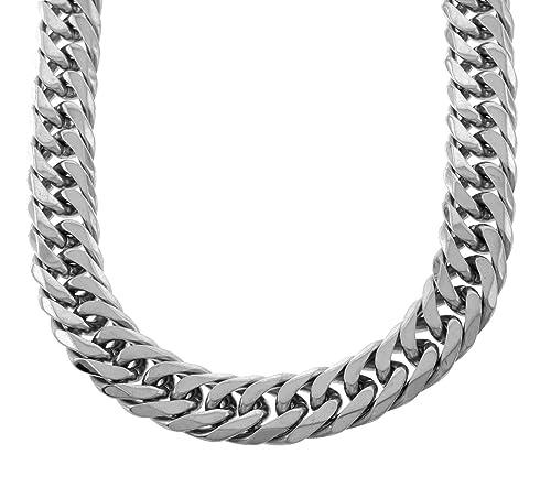 Amazon.com: Sólida plata acabado acero inoxidable 21 mm de ...