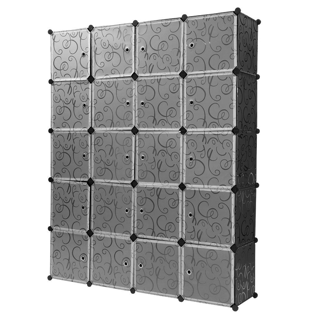 Finether-Armario Modular Rizado Estampado de 20 Cubos