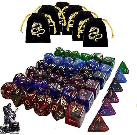 JOSE9A Dados De rol Dados D&D, 49 Piezas Colores Dobles Dados de Juego poliédricos para DND RPG Dragones y Mazmorras Juego de Mesa Pathfinder (Color Mezclado - 42 PCS): Amazon.es: Hogar