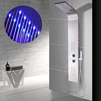 Panel de ducha de acero inoxidable con LED, Hansemay LED Columna ...