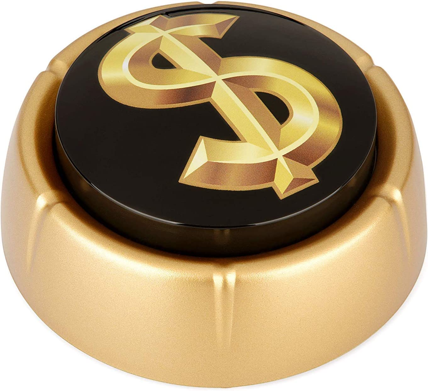 Cash Register Sound Button   Makes Extra Loud Cha-Ching Money Noise   Shiny Gold Color Bling Base   Funny Easy Dollar Sign Gift   Office Desk Item For Sales And Entrepreneurs Nut BATTERIES INCLUDED