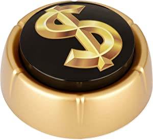 Cash Register Sound Button | Makes Extra Loud Cha-Ching Money Noise | Shiny Gold Color Bling Base | Funny Easy Dollar Sign Gift | Office Desk Item For Sales And Entrepreneurs Nut BATTERIES INCLUDED