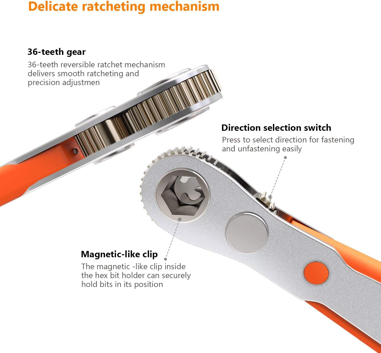 """17 Pcs Mini Ratchet Screwdriver with 1//4/"""" Drive HRSB1A Tacklife Ratchet Wrench and Bits 36-Tooth Close Quarter"""