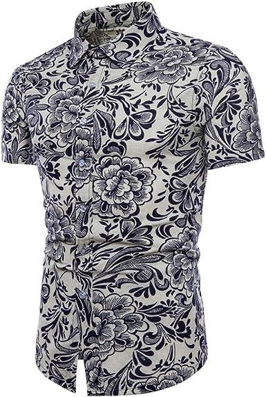 Emerayo Men Bohe Linen Shirt Fit Slim Printed Top Short Sleeve Basic T Shirt Summer Blouse